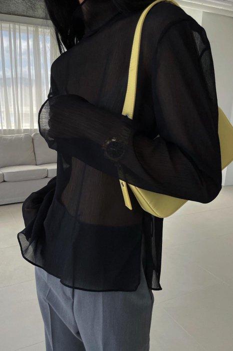 high neck<br>see thorough blouse<br>black