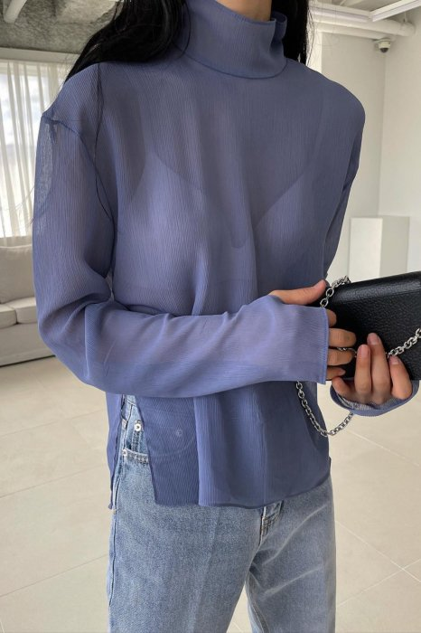 high neck<br>see thorough blouse<br>blue
