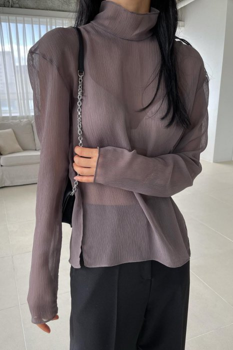 high neck<br>see thorough blouse<br>brown