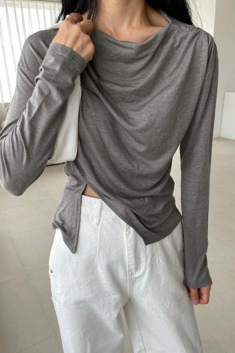 slit drape tee shirts<br>gray