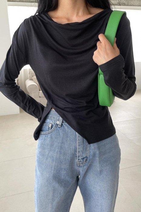 slit drape tee shirts<br>black