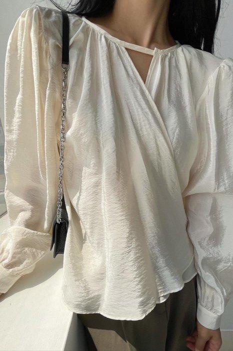 drape wrap blouse<br>ivory