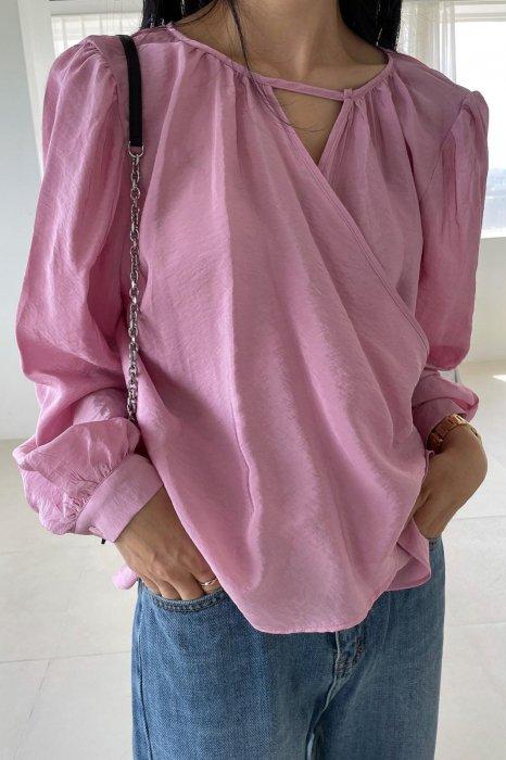drape wrap blouse<br>pink