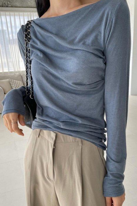 rynn boat neck tee shirts<br>blue