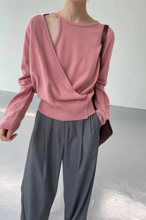 wrap open shoulder knit<br>pink