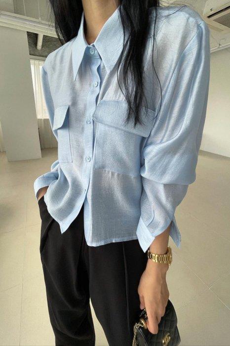 sheer pocket blouse<br>blue