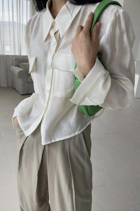 sheer pocket blouse<br>ivory