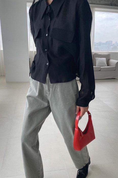 sheer pocket blouse<br>black