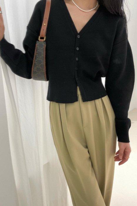 v neck puff cardigan<br>black