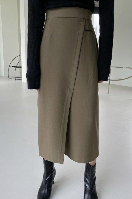 jade slit skirt<br>khaki brown