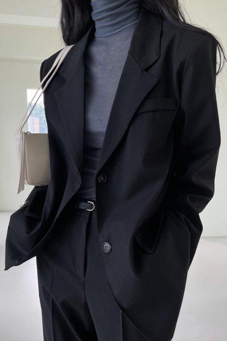 plen<br>classic two button jacket<br>black