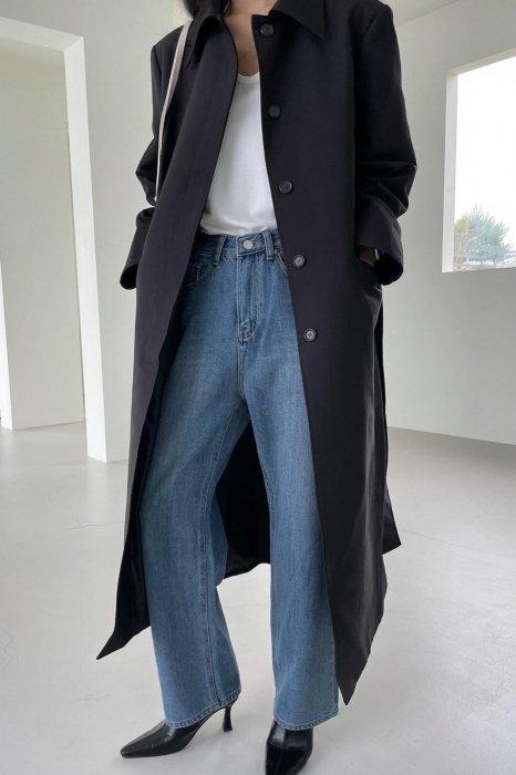maxi single trench coat<br>black
