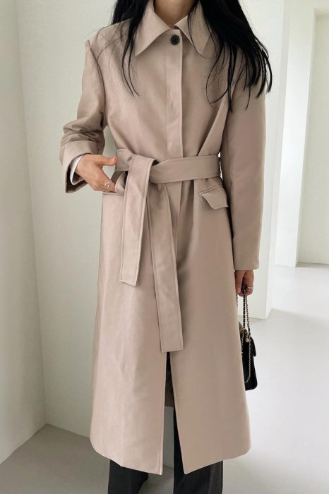 maxi single trench coat<br>beige