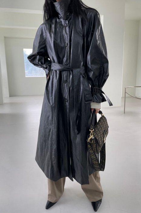 high neck<br>vegan trench coat<br>black