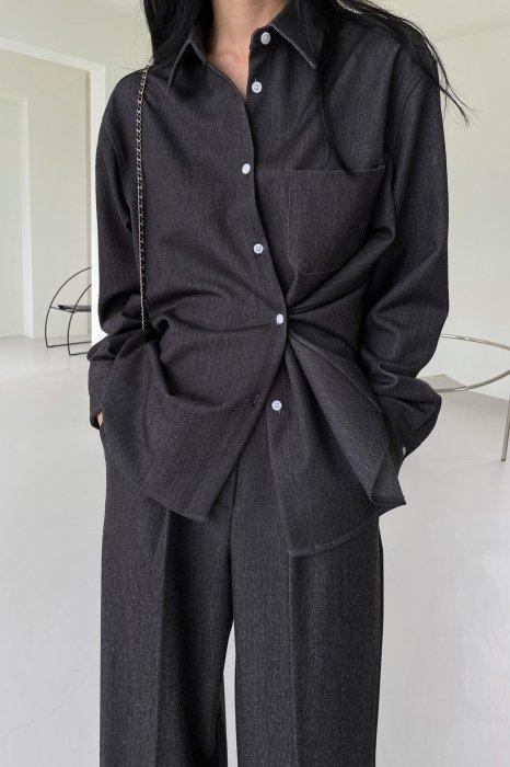 mia<br>2way denim shirts<br>black denim