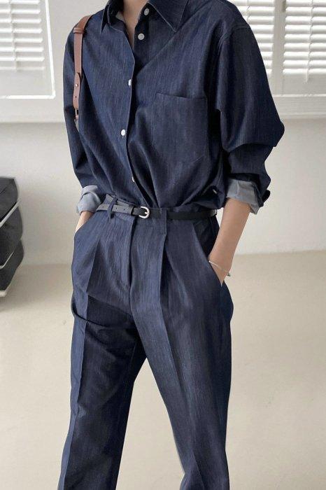 mia<br>2way denim shirts<br>navy denim