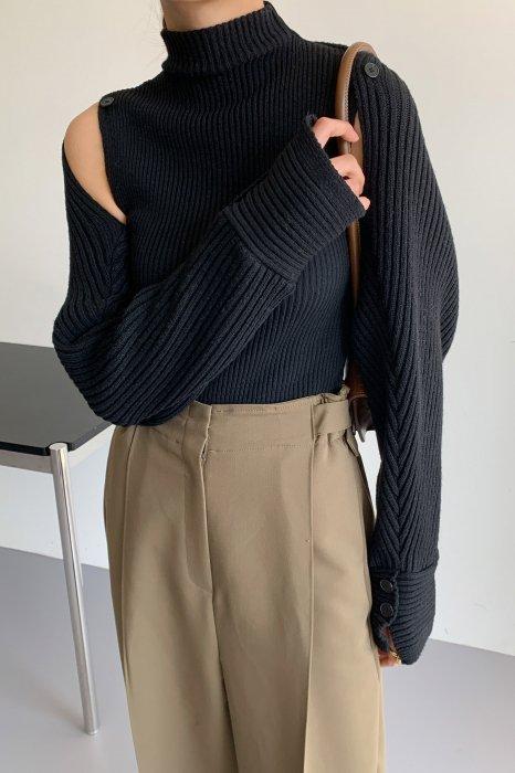 *セットアップ*<br>shoulder button<br>knit bolero set<br>black