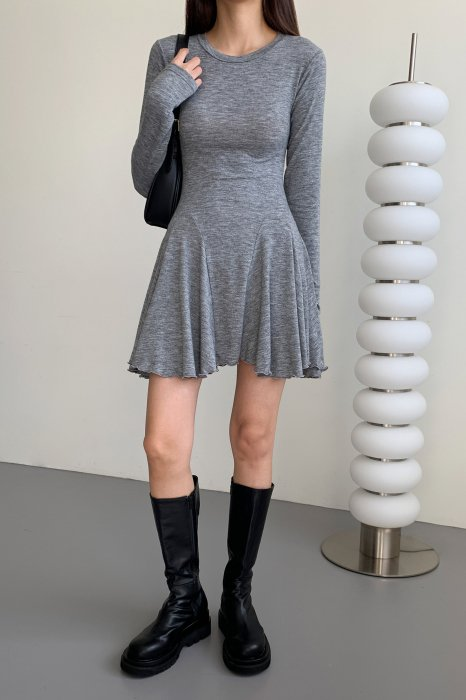 flared skirt one piece<br>gray