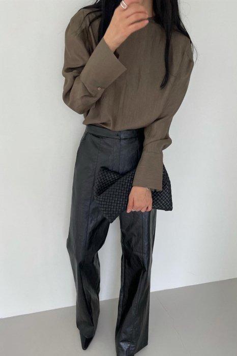 vegan leather slacks<br>black