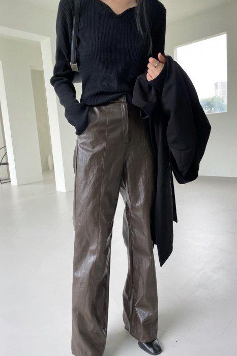 vegan leather slacks<br>brown