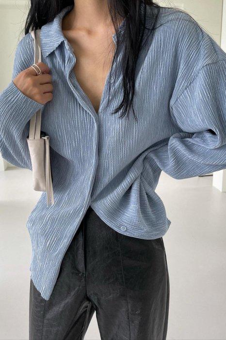 collar pleats shirts<br>blue
