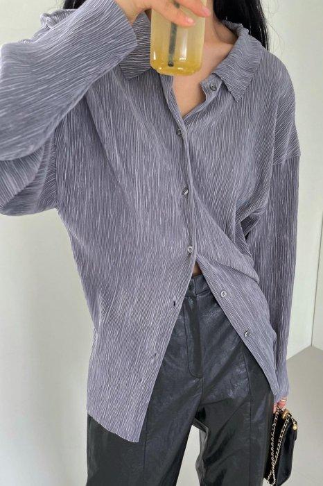 collar pleats shirts<br>gray