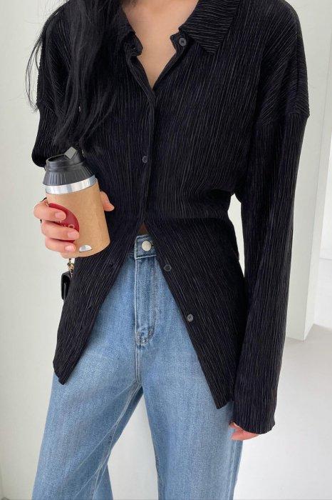 collar pleats shirts<br>black
