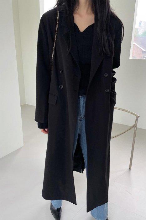 double button long jacket<br>black