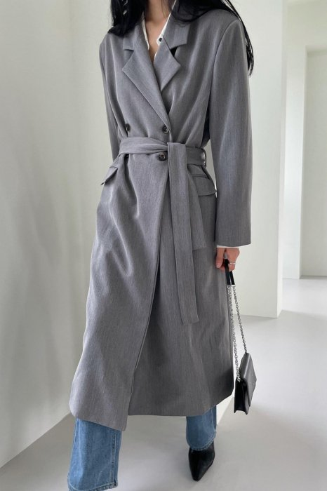 double button long jacket<br>gray