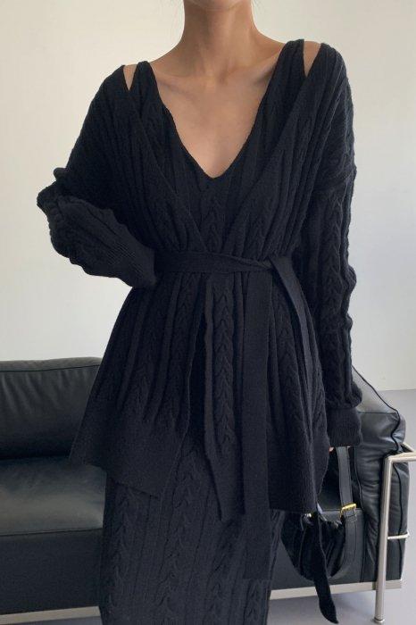 *セットアップ*<br>maxi knit one piece set<br>black
