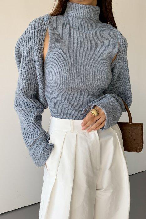 *セットアップ*<br>shoulder button<br>knit bolero set<br>blue