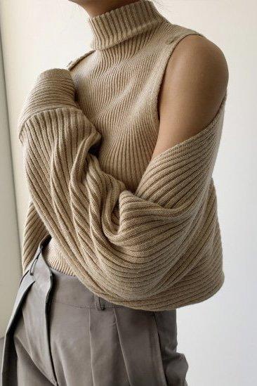 *セットアップ*<br>shoulder button<br>knit bolero set<br>beige