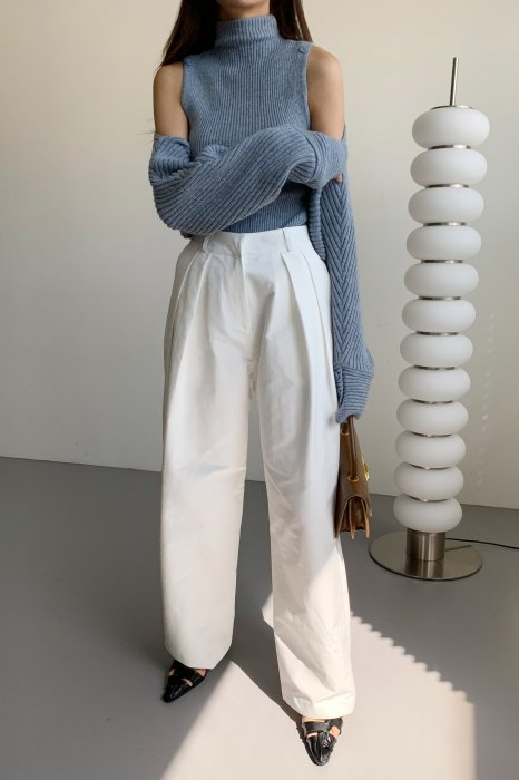two tuck wide pants<Br>white