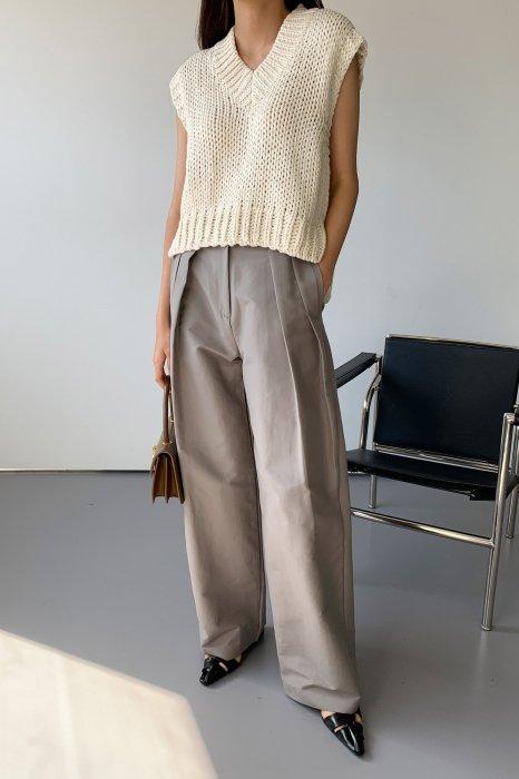 two tuck wide pants<Br>mocha gray
