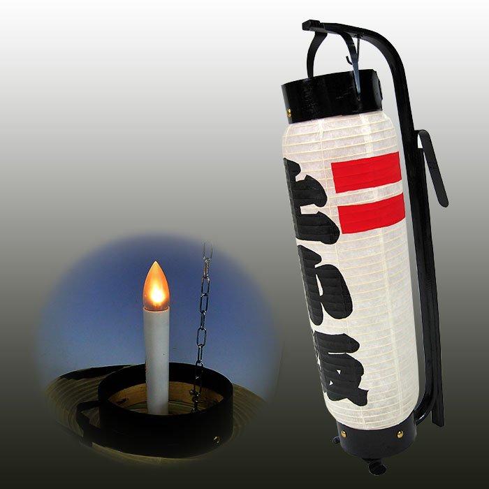 弓張提灯 新型改良 パワーLED電池灯つき ・赤ライン型 ※防水加工済み