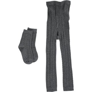 <img class='new_mark_img1' src='https://img.shop-pro.jp/img/new/icons22.gif' style='border:none;display:inline;margin:0px;padding:0px;width:auto;' />【60%OFF】HAPPYOLOGY Cable Knit Cotton Socks & Leggings Set - Dark Grey