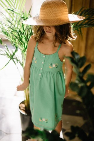 <img class='new_mark_img1' src='https://img.shop-pro.jp/img/new/icons22.gif' style='border:none;display:inline;margin:0px;padding:0px;width:auto;' />【50%OFF】HAPPYOLOGY  SUNFLOWER DRESS, GREEN 4-5Y,6-7Y,8-9Y