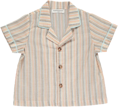 <img class='new_mark_img1' src='https://img.shop-pro.jp/img/new/icons22.gif' style='border:none;display:inline;margin:0px;padding:0px;width:auto;' />【50%OFF】HAPPYOLOGY  HARLOW BABY SHIRT, CARAMEL STRIPE 0-6M,6-12M,12-18M,18-24M,2-3Y