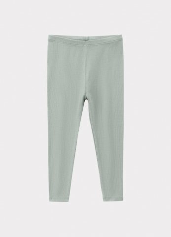 【60%OFF】HAPPYOLOGY Kids Ribbed Organic Cotton Jersey Leggings, Alga