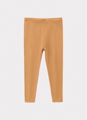 【60%OFF】HAPPYOLOGY Kids Ribbed Organic Cotton Jersey Leggings, Camel