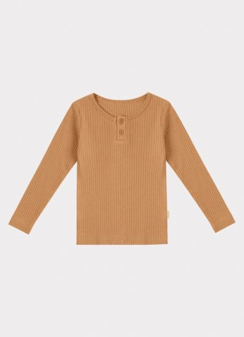 HAPPYOLOGY Baby Ribbed Organic Cotton Jersey Long-sleeve Top, Camel
