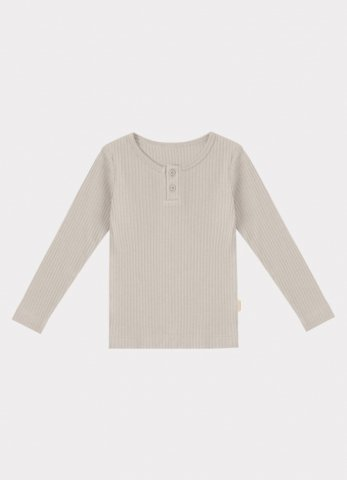 HAPPYOLOGY Baby Ribbed Organic Cotton Jersey Long-sleeve Top, Baby Grey