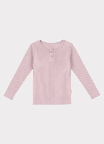 【40%OFF】HAPPYOLOGY Kids Ribbed Organic Cotton Jersey Long-sleeve Top, Lilac