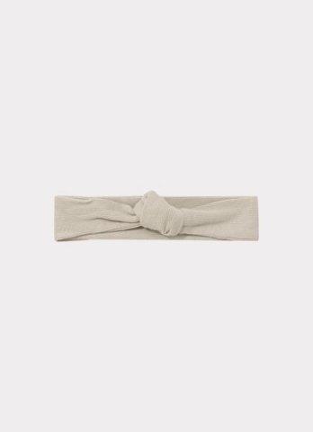 HAPPYOLOGY Ribbed Organic Cotton Jersey Headband, Baby Grey 0-2Y