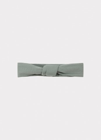 HAPPYOLOGY Ribbed Organic Cotton Jersey Headband, Alga 0-2Y