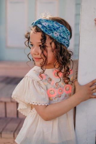 Louise Misha Kids Yuriria Headband, Emerald Flowers
