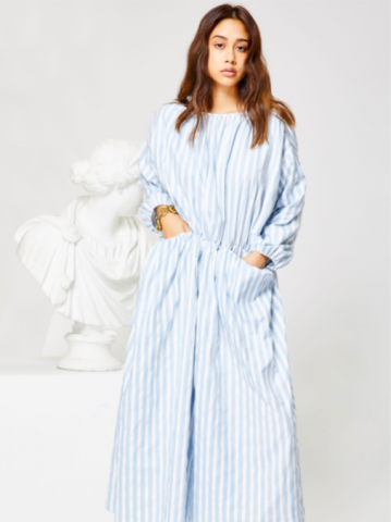 【40%OFF】GHOSPELL Relic StripePocket Midi dress