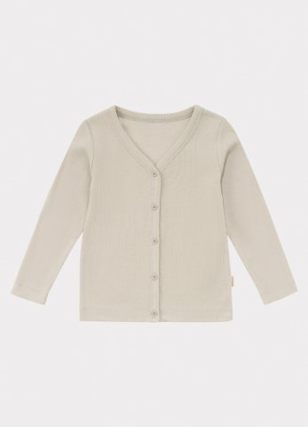 【オーガニックカーディガン】HAPPYOLOGY Baby Ribbed Organic Cotton Jersey Cardigan, Baby Grey