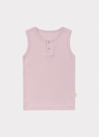 【オーガニックタンクトップ】HAPPYOLOGY Kids Ribbed Organic Cotton Jersey Vest, Lilac