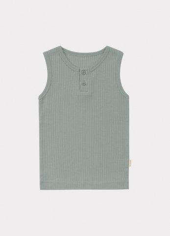 【オーガニックタンクトップ】HAPPYOLOGY Baby Ribbed Organic Cotton Jersey Vest, Alga
